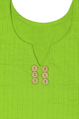 Solid Green Cotton Kurti