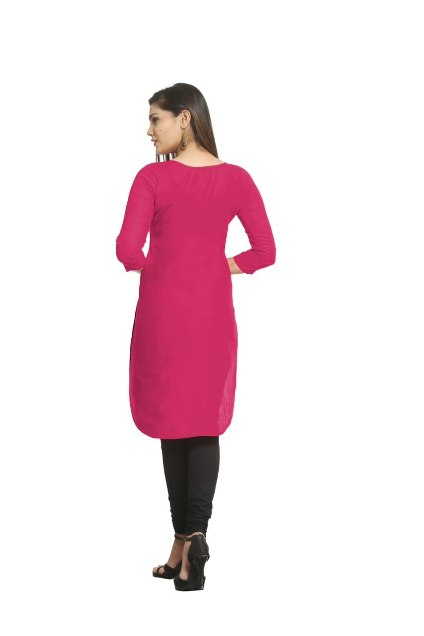 Solid Dark Pink Cotton Kurti