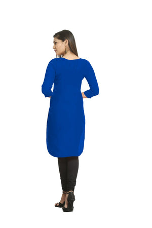 Solid Royal Blue Cotton Kurti
