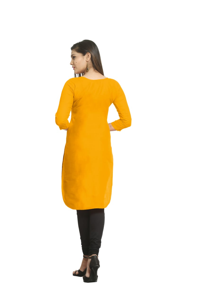 Solid Yellow Cotton Kurti