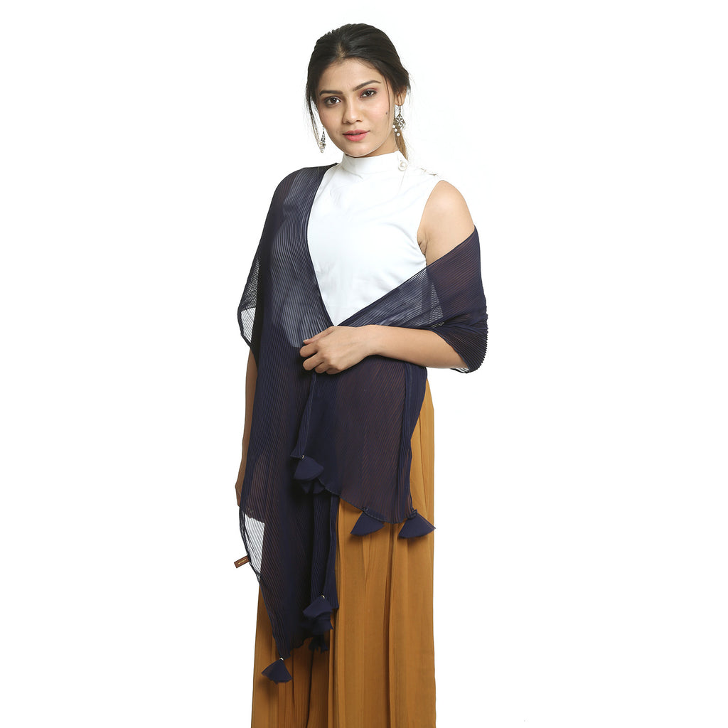 Dark Blue Georgette Stole