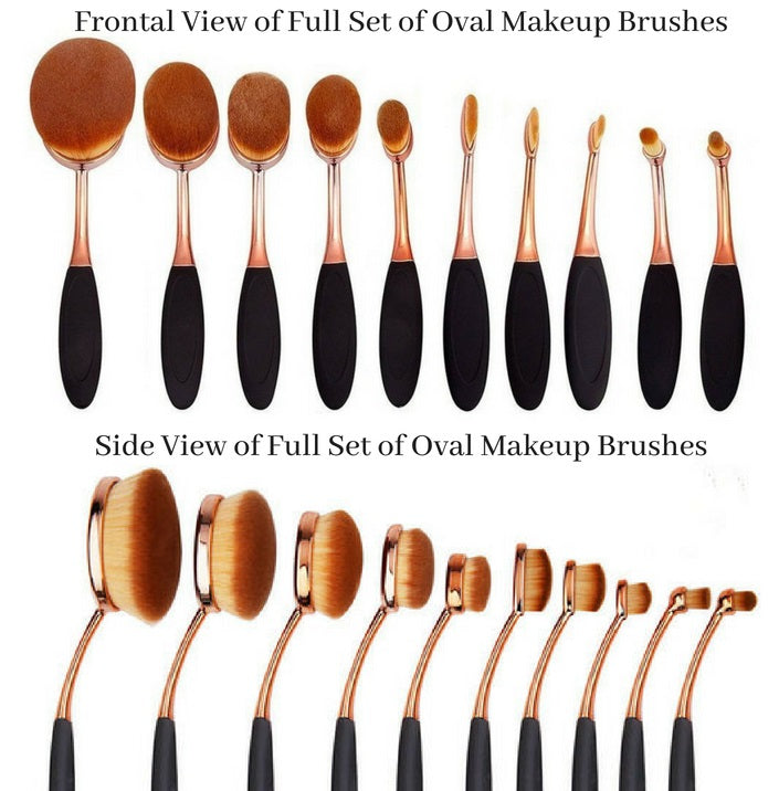 Differences between the 10 oval makeup brushes - Frontal view and Side view