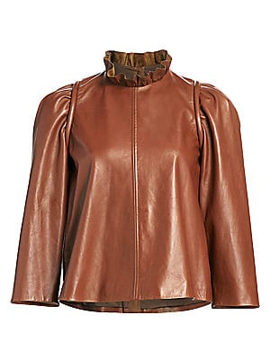 SEA Lidia Leather Long-Sleeve Top