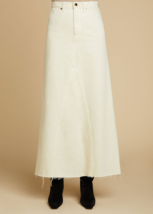 KHAITE Magdalena Reconstructed Denim Skirt