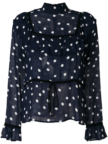 GANNI polka dot sheer blouse