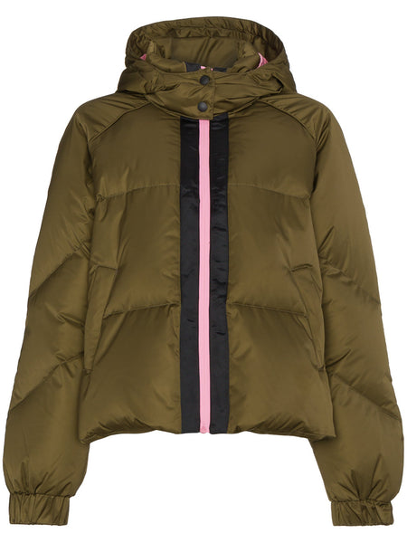 GANNI Puffer jacket with hood and contrasting zip