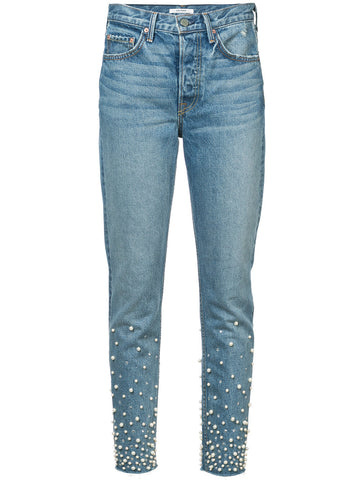 GRLFRND faux pearl detailed slim fit jeans