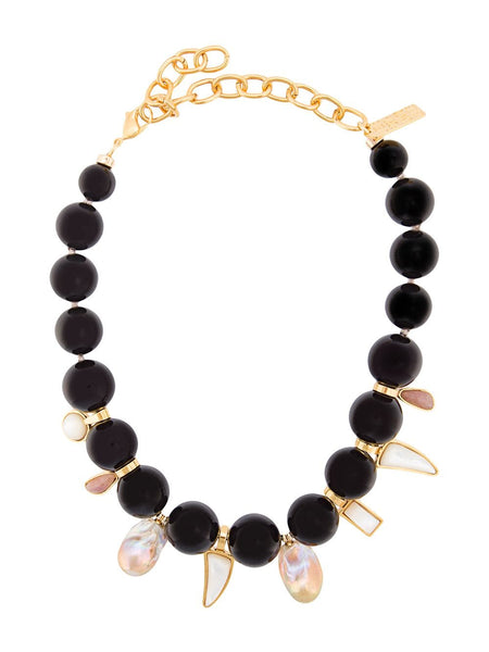 LIZZIE FORTUNATO EVORA NECKLACE BLACK AGATE
