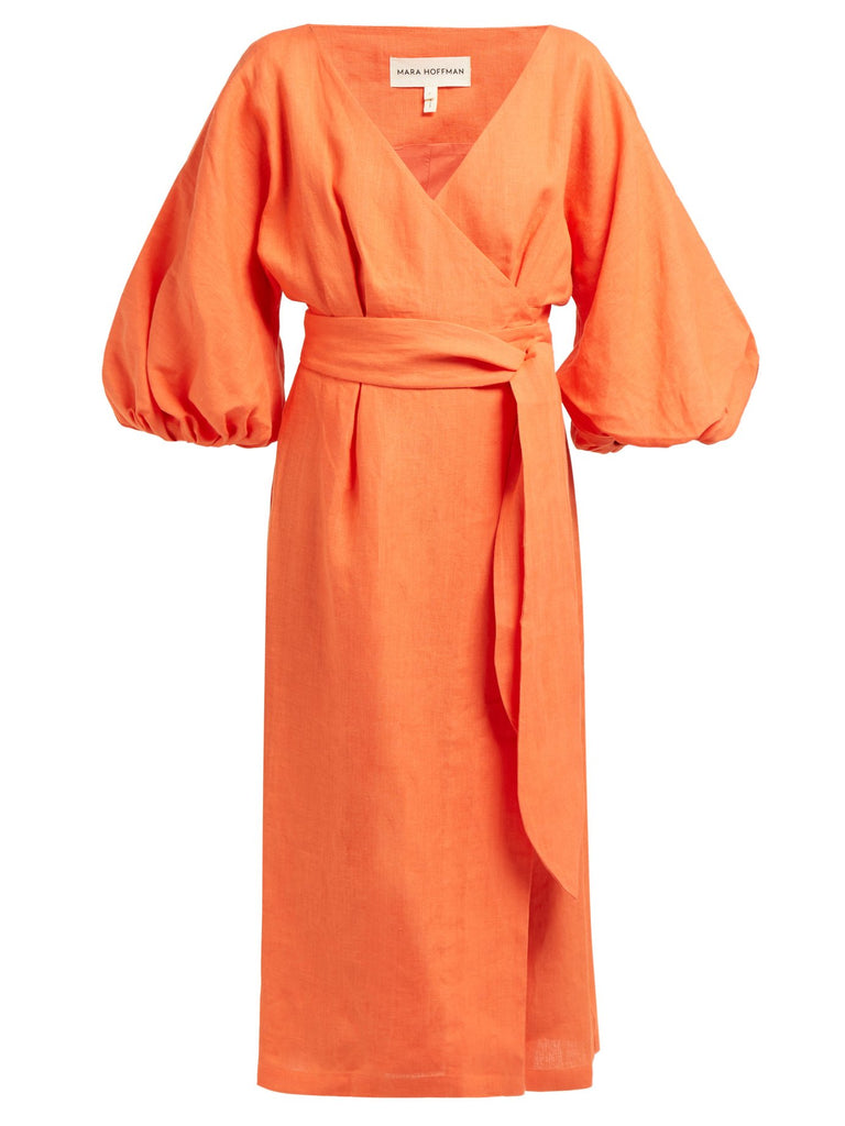 MARA HOFFMAN Francesca Balloon Sleeve Wrap Dress