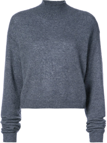 Adam Lippes Brushed Cashmere Mock Neck Cropped Sweater