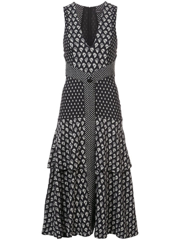 PROENZA SCHOULER Block Print Sleeveless V-Neck Dress