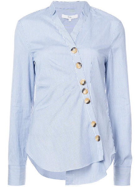 TIBI Jones stripe asymmetric shirt