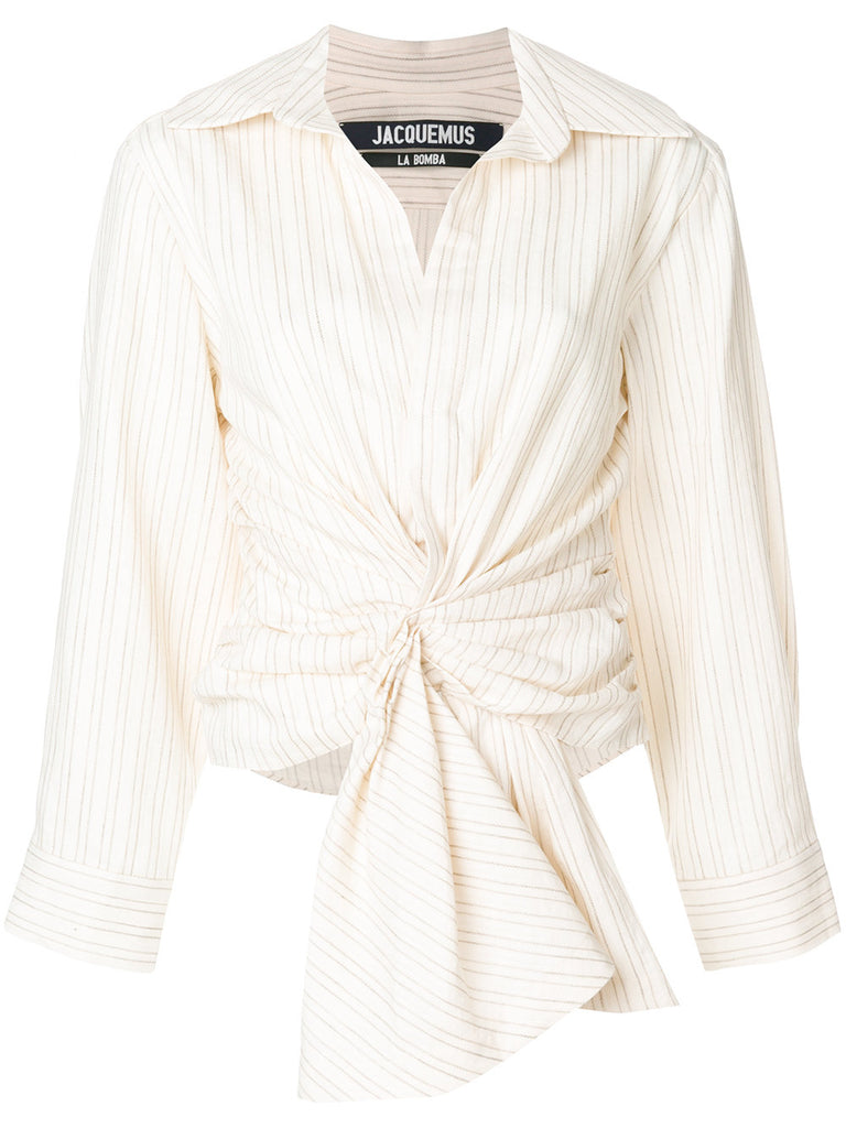 JACQUEMUS striped tie-front shirt