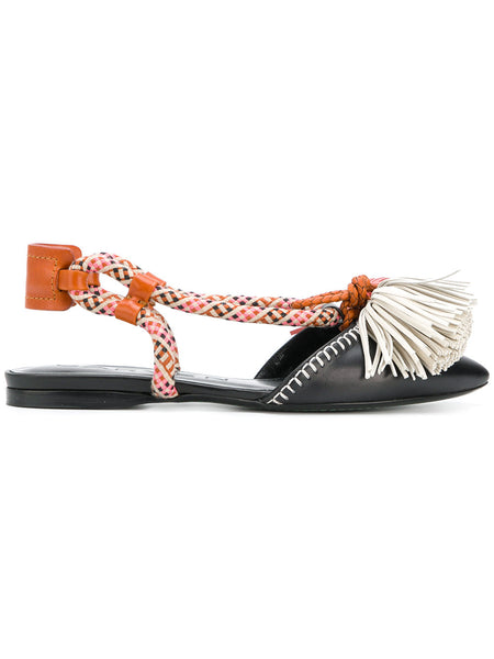 CARVEN fringed ballerinas