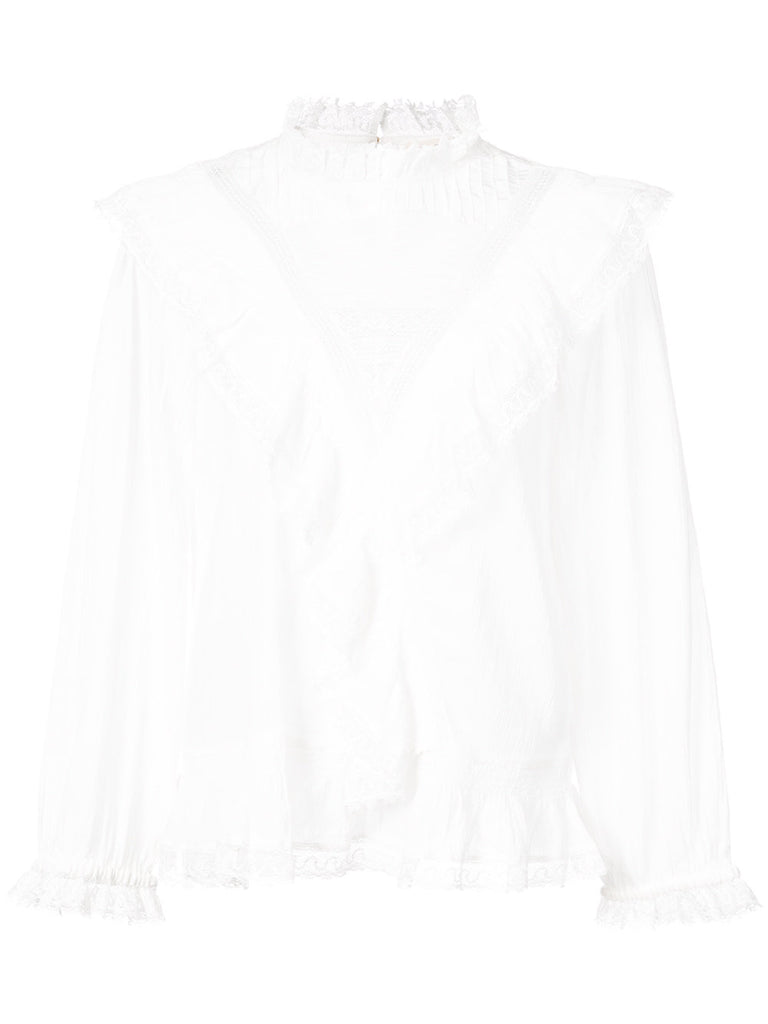 ULLA JOHNSON Bonnie lace and ruffle trim blouse