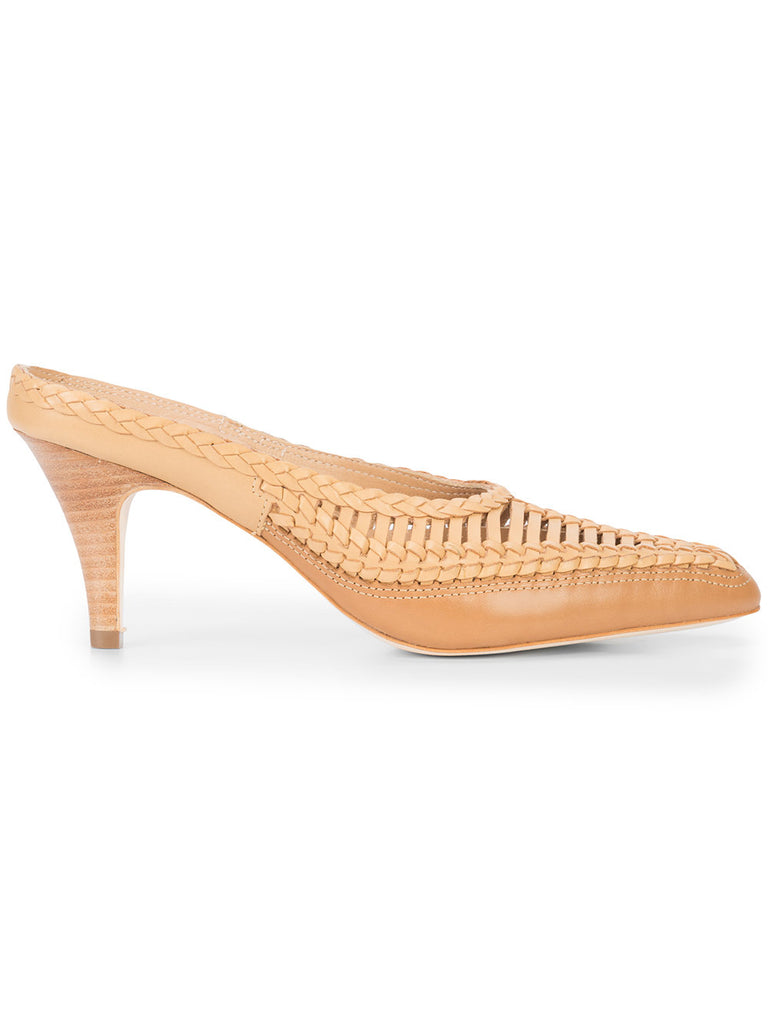 ULLA JOHNSON woven panel mules