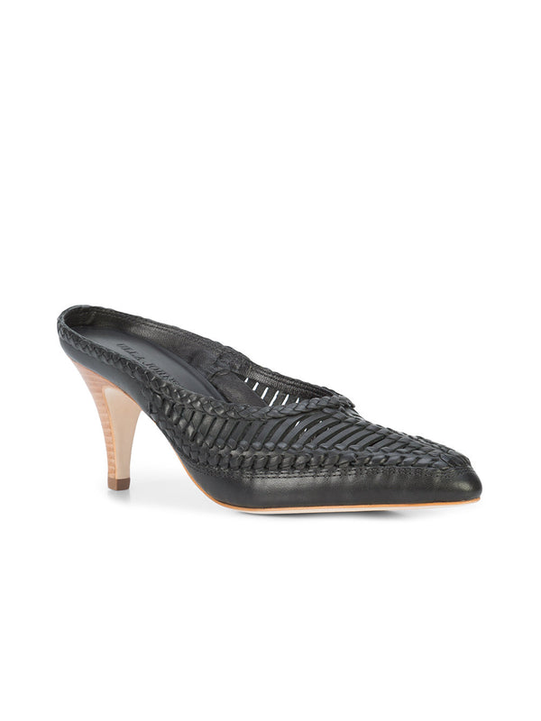 ULLA JOHNSON woven panel mules - Black