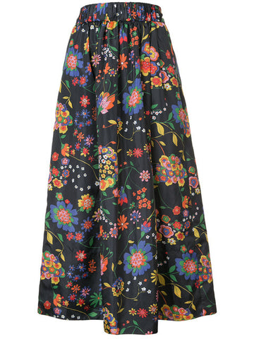 Tibi Printed Tech Floral Smocking WB with Full Skirt