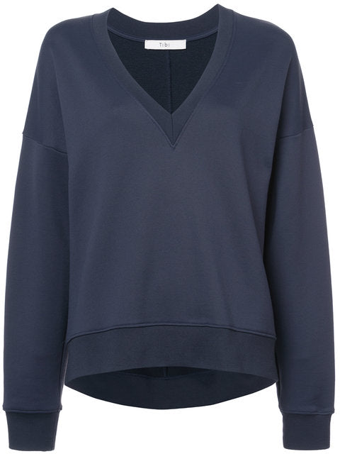 Tibi Easy Sweatshirt Vneck Draped Back Sweatshirt