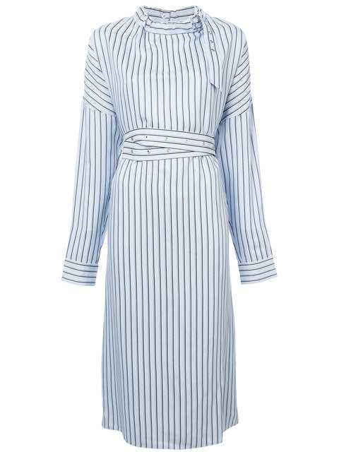 Tibi Viscose Stripe Shirting Buckle Doman Dress
