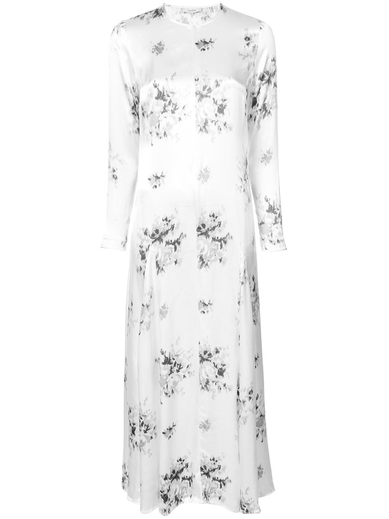 GANNI Cameron Long Sleeve Floral Shirtdress