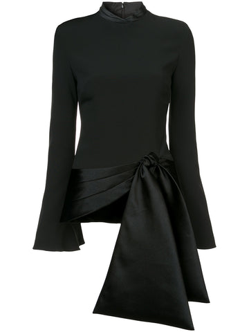 Brandon Maxwell FLARE SLEEVE SATIN TIE BOTTOM TOP