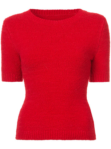 Brandon Maxwell BOUCLE CREW NECK TOP