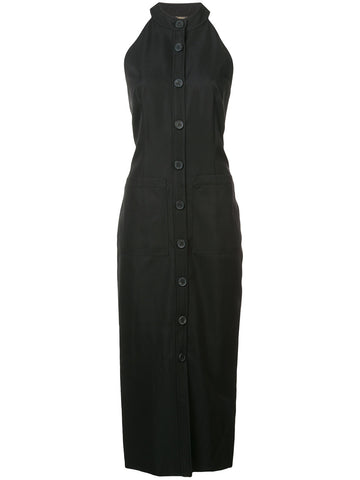 Adam Lippes Gaberdine Wool Midi Halter Dress w/ Buttons