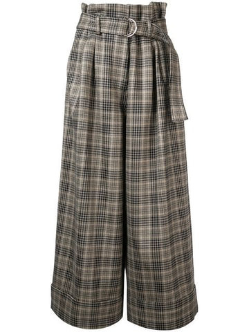 Adam Lippes DOUBLE FACE WOOL TIE WAIST WIDE LEG CULOTTE