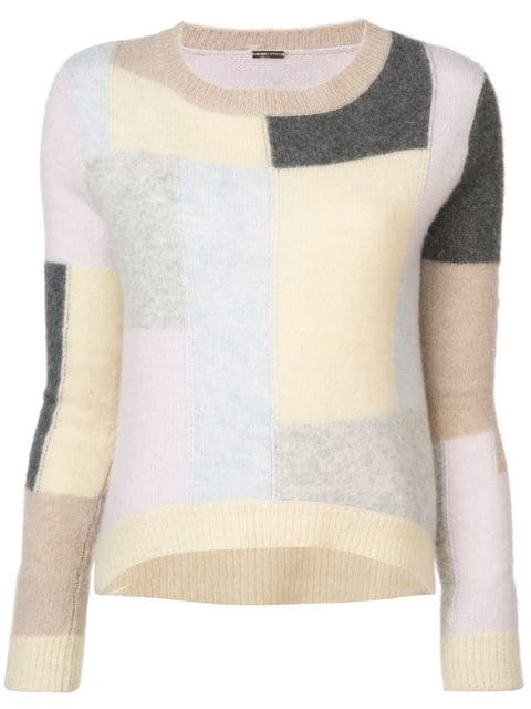 Adam Lippes BRUSHED CASHMERE KNIT PATCHWORK LS CREWNECK