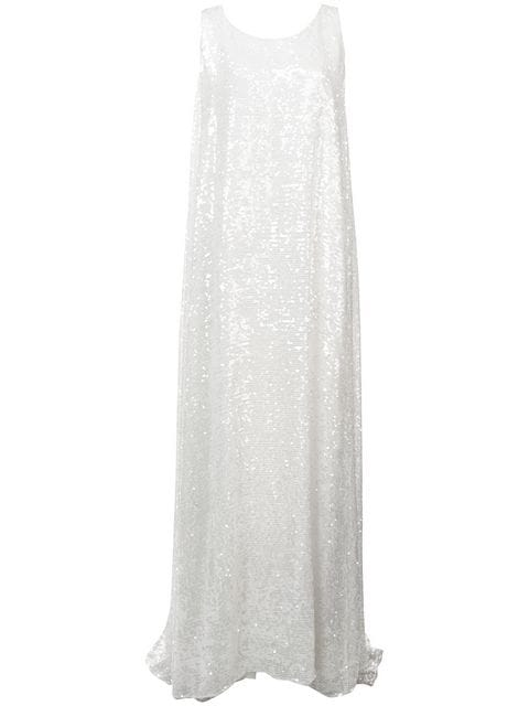 Adam Lippes SEQUIN EMBROIDERED TANK GOWN W KNOT BACK