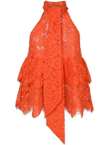 Ganni Jerome Lace Top w/ Neck Tie