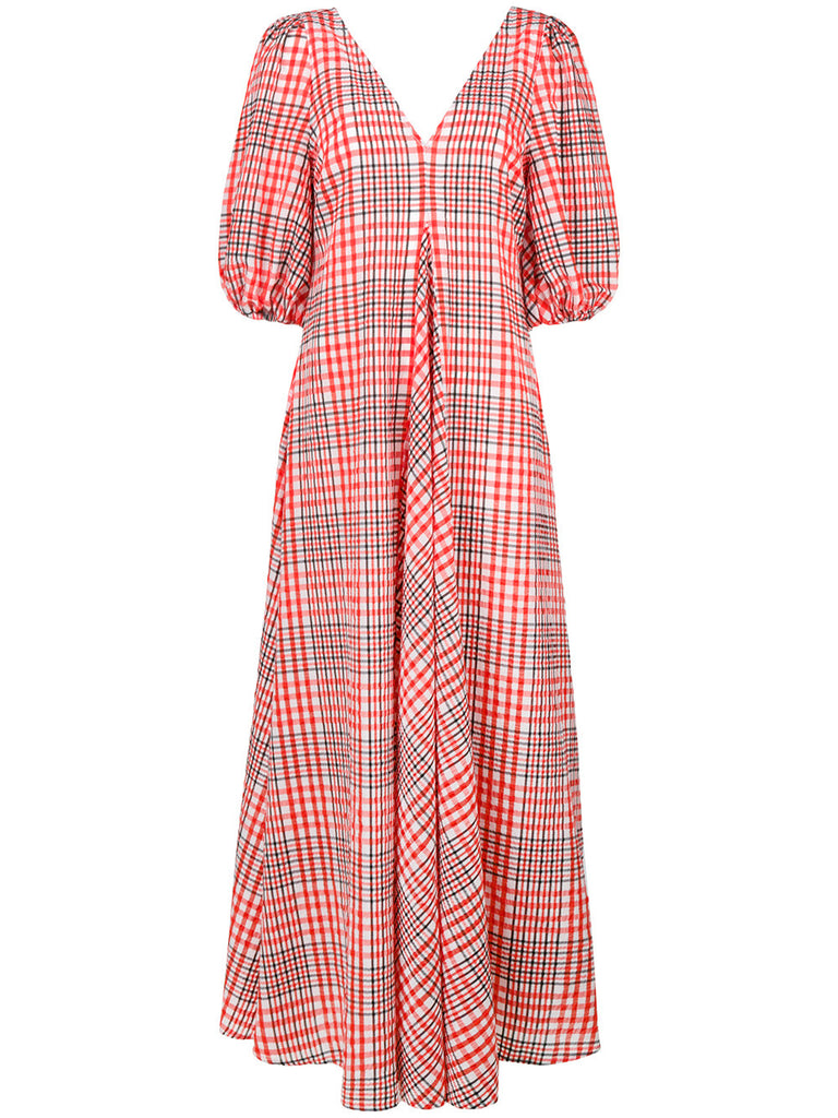 Ganni Charron Midi Flare Dress plaid