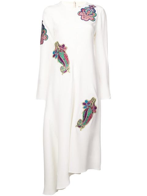 Tibi Paisley Patch on 4 Ply Silk Dress w/ Fringe Tee