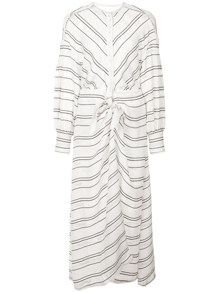 PROENZA SCHOULER Crepe Striped Tie Long Sleeve Dress