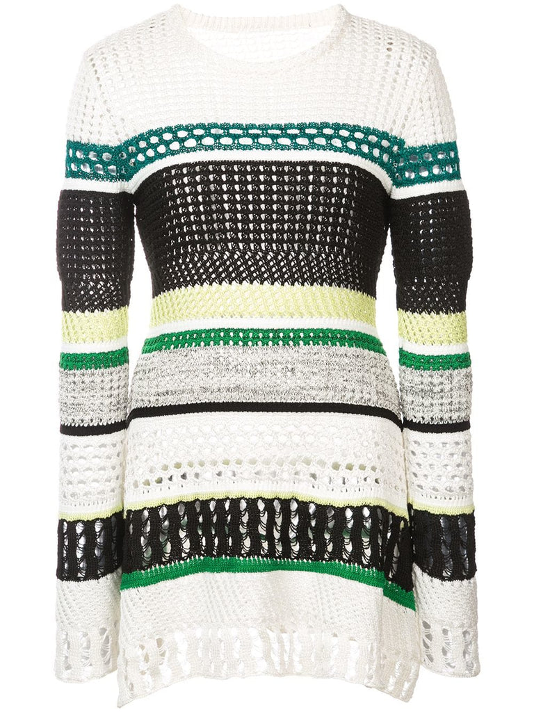 PROENZA SCHOULER L/S Knit Top-Silk Stripe Open Stitch Top