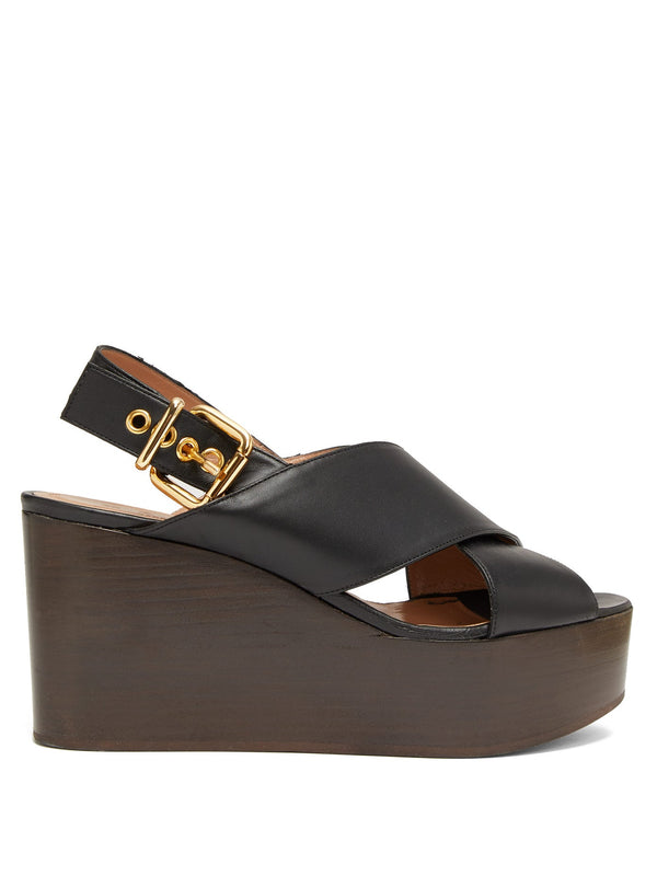 MARNI Wedge Wood Sandal - Black