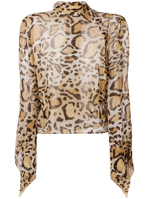 Petar Petrov-ANIMAL PRINTED BLOUSE WITH OPULENT SLEEVES