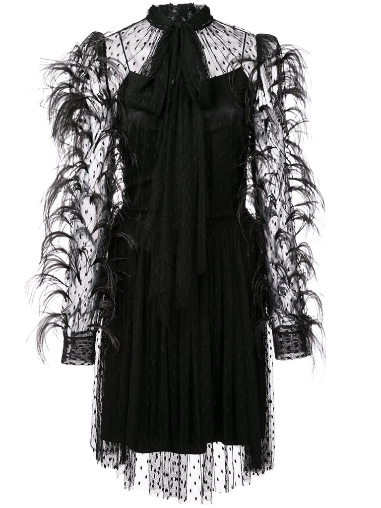 ADAM LIPPES Point Desprit Mockneck Mini Dress W Feathers - Black