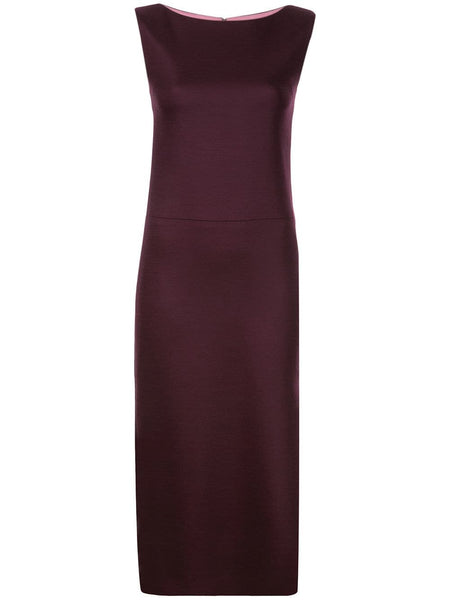 ADAM LIPPES Double Face Wool Boatneck Dress - Burgundy/Pink