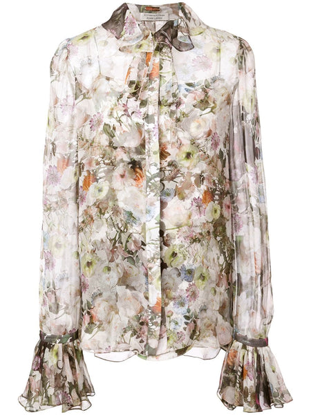 ADAM LIPPES Printed Chiffon Blouse W Ruffle Collar - White Floral