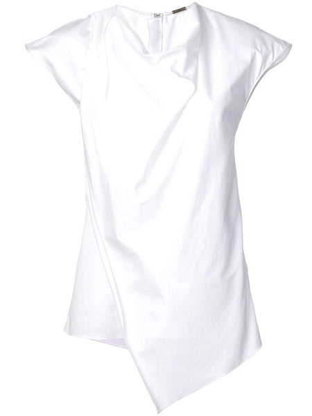 ADAM LIPPES Cotton Poplin Cowl Neck Top - White