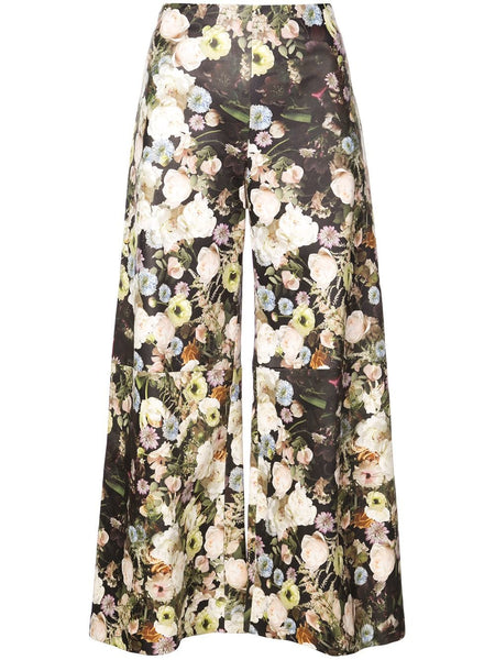ADAM LIPPES Printed Floral Leather Wide Leg Culotte