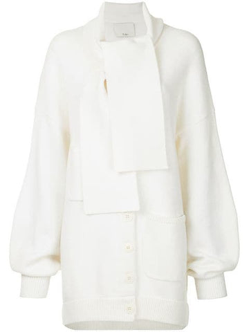 TIBI AIRY EXTRAFINE WOOL SWEATER TIE COLLAR CARDIGAN