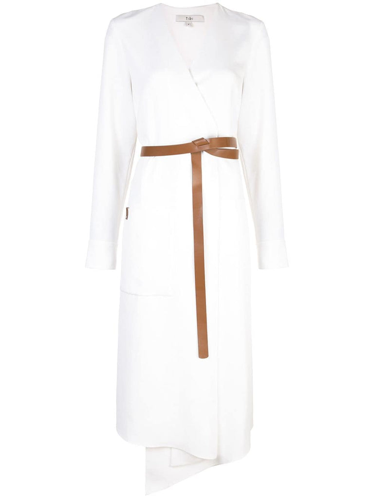TIBI Drape Twill White Midi Wrap Dress