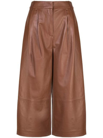 TIBI  Chocolate Brown Tissue Leather Stella Culotte