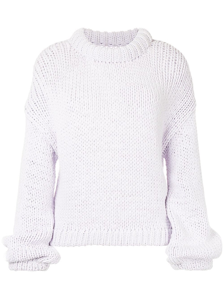 TIBI Tube Lavender Yarn Solid Cropped Pullover Sweater