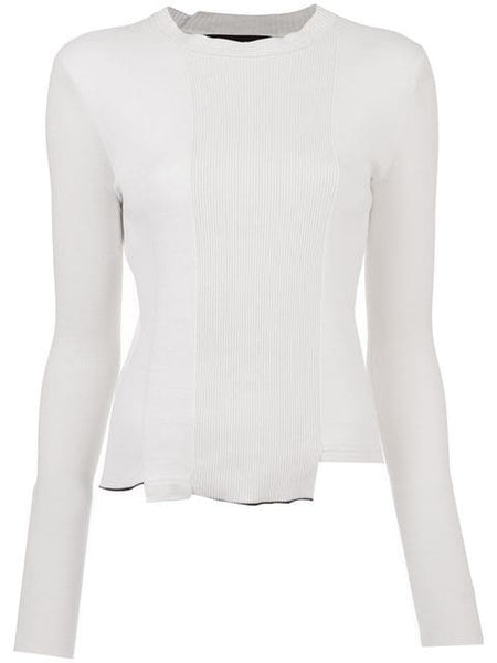PROENZA SCHOULER L/S Top-Pieced Ribbed Knits - Off White Combo