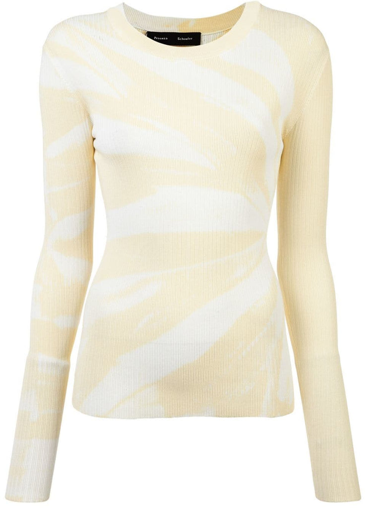 PROENZA SCHOULER L/S Top-Viscose Rib Tie Dye Pale Yellow/White