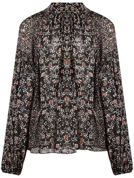 ULLA JOHNSON ORA BOW BLOUSE NOIR